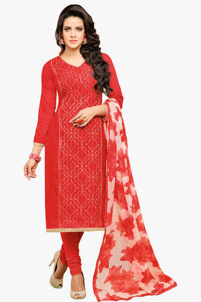 Designer Straight Cut:atisundar superb Red Designer Straight Cut Suit In Chanderi Cotton - 10470 - atisundar - 1 - click to zoom