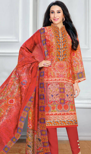 The Karishma Kapoor Collection:atisundar fair Orange And Red designer print  in cambric cotton and blended cotton suits - 10005 - atisundar - 1 - click to zoom