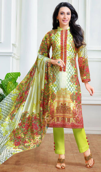 The Karishma Kapoor Collection:atisundar excellent Off White And Parrot Green designer print in cambric cotton and blended cotton suits - 10006 - atisundar - 1 - click to zoom