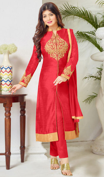 The Ayesha Takia Collection:atisundar cute Red Embroidered Designer Straight Cuts in Cambric Cotton Featuring Ayesha Takia - 10116 - atisundar - 1 - click to zoom