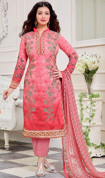 cad595c9b8 atisundar wonderful Pink Designer Straight Cut Suits With Embroidery On  Printed Cotton Satin Featuring Ayesha Takia - 10445