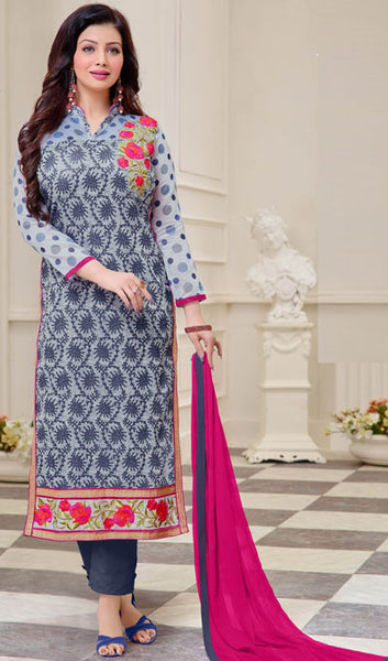 16c2723ffce atisundar enticing Grey Designer Straight Cut Suits With Embroidery On  Printed Cotton Satin Featuring Ayesha Takia - 10446