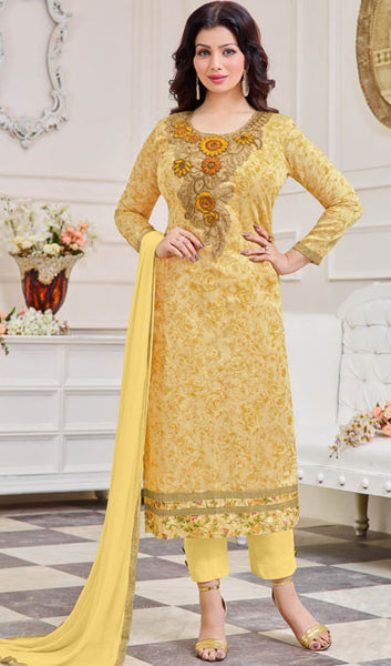 The Ayesha Takia Collection:atisundar classy Light Yellow Designer Straight Cut Suits With Embroidery On Printed Cotton Satin Featuring Ayesha Takia - 10448 - atisundar - 1 - click to zoom