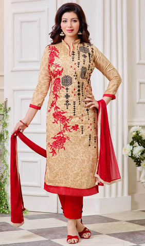 The Ayesha Takia Collection:atisundar Lovely Beige And Red Designer Straight Cut Suits With Embroidery On Printed Cotton Satin Featuring Ayesha Takia - 10453 - atisundar - 1 - click to zoom