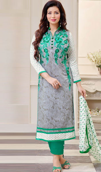 The Ayesha Takia Collection:atisundar cute Grey And Sea Green Designer Straight Cut Suits With Embroidery On Printed Cotton Satin Featuring Ayesha Takia - 10454 - atisundar - 1 - click to zoom
