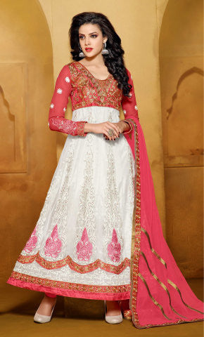 Designer Embroidered Anarkali:atisundar classy Pink And White embroidered Party Wear Anarkali - 6684 - atisundar - 1 - click to zoom