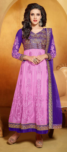 Designer Embroidered Anarkali:atisundar splendid Blue And Pink embroidered Party Wear Anarkali - 6686 - atisundar - 3 - click to zoom