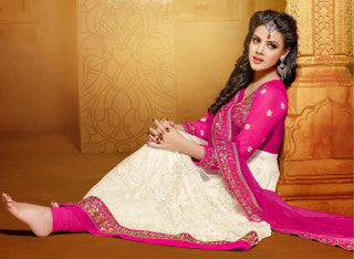 Designer Embroidered Anarkali:atisundar beauteous Pink And White embroidered Party Wear Anarkali - 6687 - atisundar - 1 - click to zoom