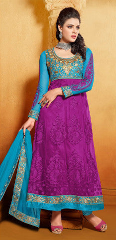 Designer Embroidered Anarkali:atisundar marvelous Blue And Purple embroidered Party Wear Anarkali - 6691 - atisundar - 1 - click to zoom