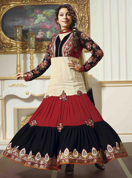 Juhi Chawla Anarkalis:atisundar   classy Bollywood Ankle Length Designer Anarkali in Cream And Red And Black  - 4468 - atisundar - 2 - click to zoom