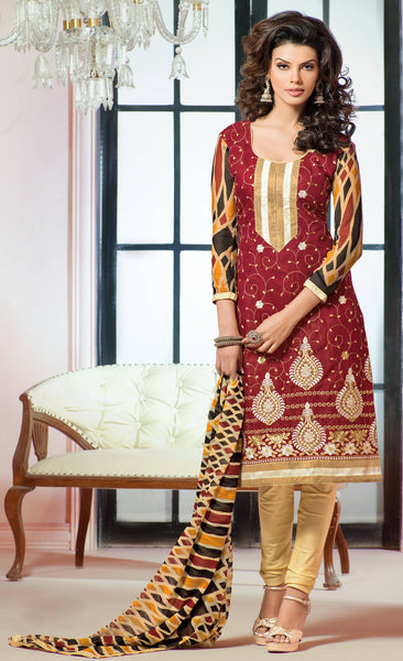 Designer Embroidered Chanderi Cotton Suits:atisundar graceful Maroon Straight Cut Embroidered Dress Material - 6334 - atisundar - 3 - click to zoom