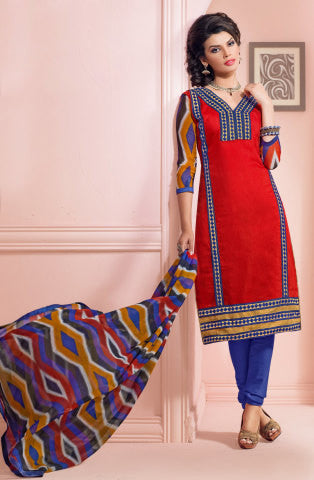 Designer Embroidered Chanderi Cotton Suits:atisundar fair Red Straight Cut Embroidered Dress Material - 6336 - atisundar - 1 - click to zoom