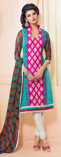 Designer Embroidered Chanderi Cotton Suits:atisundar refined Pink And Sky Straight Cut Embroidered Dress Material - 6346 - atisundar - 3 - click to zoom