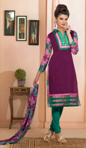 Designer Embroidered Chanderi Cotton Suits:atisundar marvelous Purple Straight Cut Embroidered Dress Material - 6349 - atisundar - 1 - click to zoom