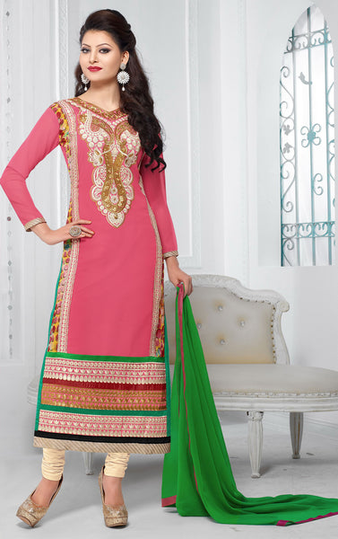 The Urvashi Rautela Collection:atisundar refined Pink Designer Straight Cut  - 6738 - click to zoom