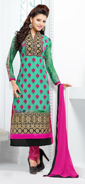 The Urvashi Rautela Collection:atisundar Beautiful Light Green Designer Straight Cut  - 6745 - atisundar - 2 - click to zoom