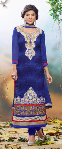 Designer Embroidered Partywear Straight Cut Suit In Faux Georgette:atisundar splendid Blue Designer Embroidered Partywear Suits in Straight Cut - 6389 - atisundar - 1 - click to zoom
