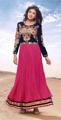 Designer Gowns!:atisundar Alluring Net And Velvet Designer Partywear Gowns in Pink - 6841 - atisundar - 3 - click to zoom