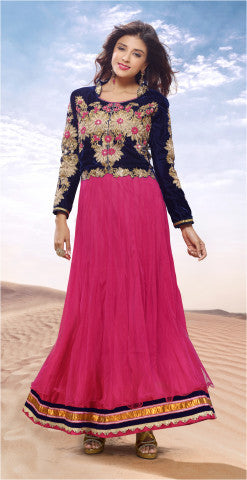 Designer Gowns!:atisundar Alluring Net And Velvet Designer Partywear Gowns in Pink - 6841 - atisundar - 1 - click to zoom