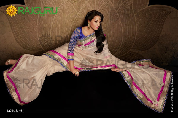 Rajguru Lotus Featuring Sonakshi:atisundar   angelic Bollywood Designer Saree in Cream  - 4540 - atisundar - 3 - click to zoom