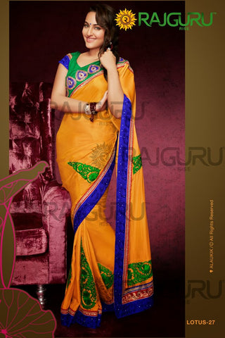 Rajguru Lotus Featuring Sonakshi:atisundar   delicate Bollywood Designer Saree in Yellow  - 4545 - atisundar - 2