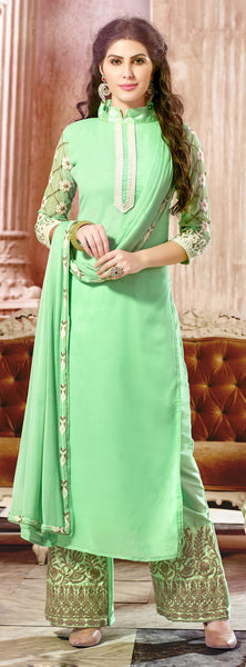 Designer Straight Cut:atisundar radiant Light Green Palazzo - 8385 - atisundar - 2 - click to zoom
