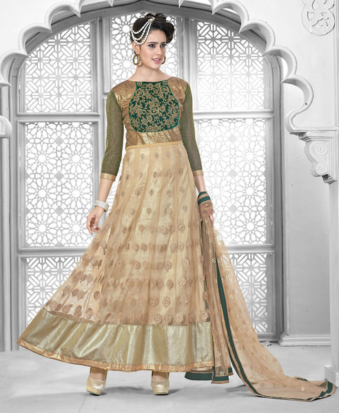 Designer Embroidered Suit:atisundar Superb Beige Designer Embroidered Suits - 8398 - click to zoom