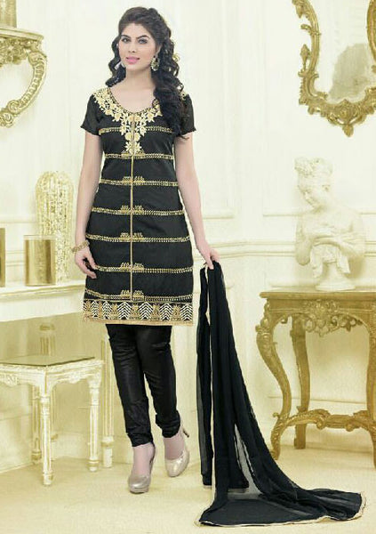 Designer Embroidered Straight Cut Suit:atisundar Charismatic Black Embroidered Straight Cut in Chanderi - 9575 - click to zoom