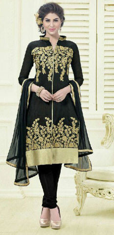 Designer Embroidered Straight Cut Suit:atisundar elegant Black Embroidered Straight Cut in Chanderi - 9579 - atisundar - 1 - click to zoom