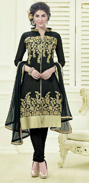 Designer Embroidered Straight Cut Suit:atisundar elegant Black Embroidered Straight Cut in Chanderi - 9579 - atisundar - 2 - click to zoom