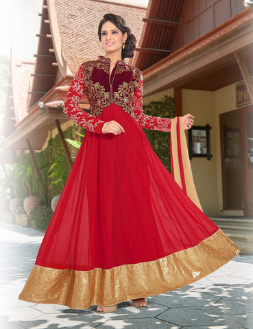 Designer Anarkali:atisundar superb Red Anarkali - 8377 - atisundar - 2 - click to zoom