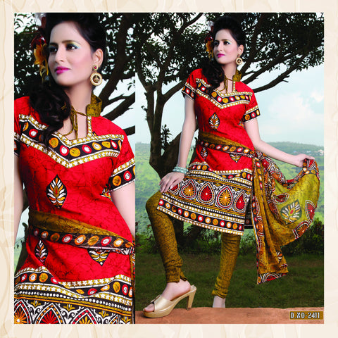Designer Printed Unstitched Suits:atisundar superb   in Red - 5649 - atisundar - 2