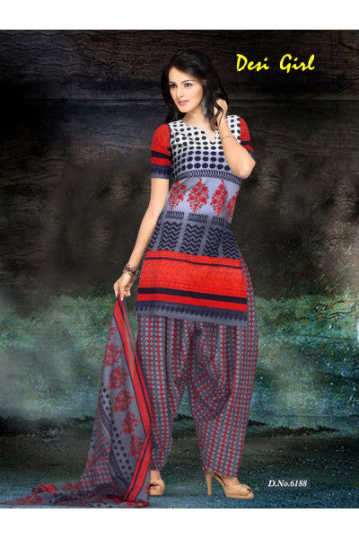 Designer Printed Unstitched Suits:atisundar exquisite   in Grey And Red - 5657 - click to zoom