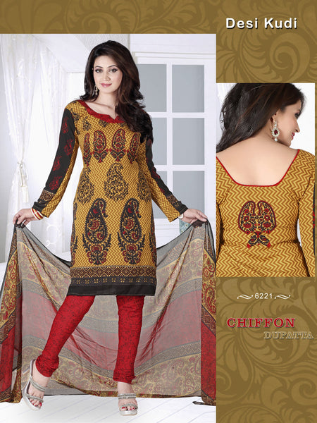 Designer Printed Unstitched Suits:atisundar wonderful   in Brown And Black - 5664 - atisundar - 2 - click to zoom