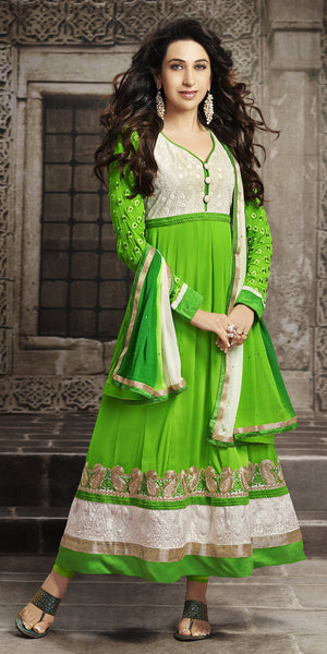 The Karishma Kapoor Collection:atisundar angelic Green Blended Semi Pure Georgette Embroidered Anarkali - 6048 - atisundar - 2 - click to zoom