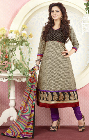 Aamna Shariff Printed Poly Cotton Anarkali:atisundar refined Cream Printed Ready to Stitch Anarkali - 6079 - atisundar - 1 - click to zoom