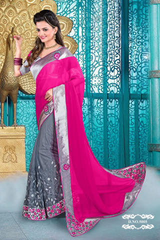 Designer Partywear Saree!:atisundar delightful Designer Party Wear Sarees in Pink And Gray  - 7590 - atisundar - 1 - click to zoom