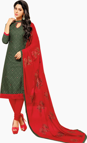 Designer Printed Straight Cut Suit With Embroidered Dupatta - 14445 - click to zoom