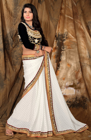 Designer Partywear Saree:atisundar elegant Designer Party Wear Sarees in White  - 7699 - atisundar - 2