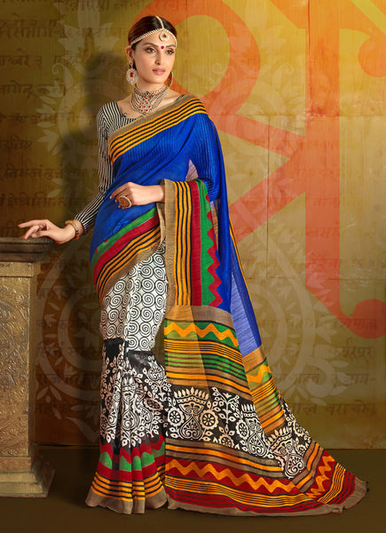 Designer Printed Saree:atisundar magnificent Designer Printed Saree in Multi Colour  - 7671 - atisundar - 2 - click to zoom