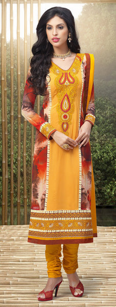 Designer Embroidered and Digital Printed Straight Cut Suits In Faux Georgette:atisundar lovely Yellow And Multi Straight Cut with Embroidery and Digital Print - 6416 - atisundar - 3 - click to zoom