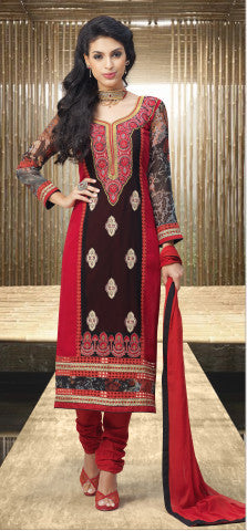 Designer Embroidered and Digital Printed Straight Cut Suits In Faux Georgette:atisundar Great Red And Black Straight Cut with Embroidery and Digital Print - 6418 - atisundar - 1 - click to zoom