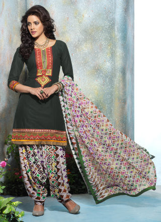 Designer Embroidered Patiala in Cotton:atisundar ravishing Dark Green Designer Embroidered Patiala Dress Material In Cotton - 6423 - atisundar - 1 - click to zoom