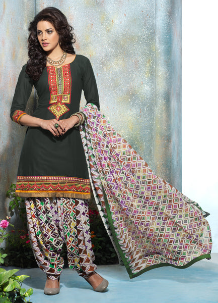Designer Embroidered Patiala in Cotton:atisundar ravishing Dark Green Designer Embroidered Patiala Dress Material In Cotton - 6423 - atisundar - 3 - click to zoom