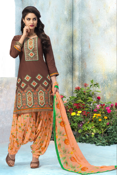 Designer Embroidered Patiala in Cotton:atisundar superb Brown Designer Embroidered Patiala Dress Material In Cotton - 6429 - atisundar - 3 - click to zoom