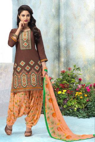 Designer Embroidered Patiala in Cotton:atisundar superb Brown Designer Embroidered Patiala Dress Material In Cotton - 6429 - atisundar - 1 - click to zoom