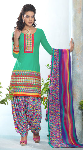 Designer Embroidered Patiala in Cotton:atisundar excellent Green Designer Embroidered Patiala Dress Material In Cotton - 6432 - atisundar - 3 - click to zoom