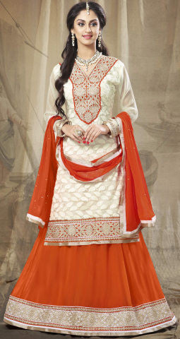 Festive Favorite:atisundar admirable Faux Georgette Designer Embroidered Lehenga in Orange - 5504 - atisundar - 2 - click to zoom
