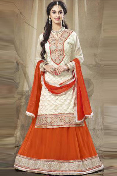 Festive Favorite:atisundar admirable Faux Georgette Designer Embroidered Lehenga in Orange - 5504 - atisundar - 1 - click to zoom