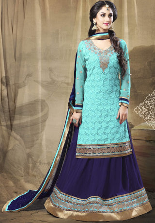 Festive Favorite:atisundar excellent Faux Georgette Designer Embroidered Lehenga in Sky - 5506 - atisundar - 1 - click to zoom